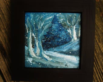 Mini oil painting/landscape/4x4/night/snow/winter