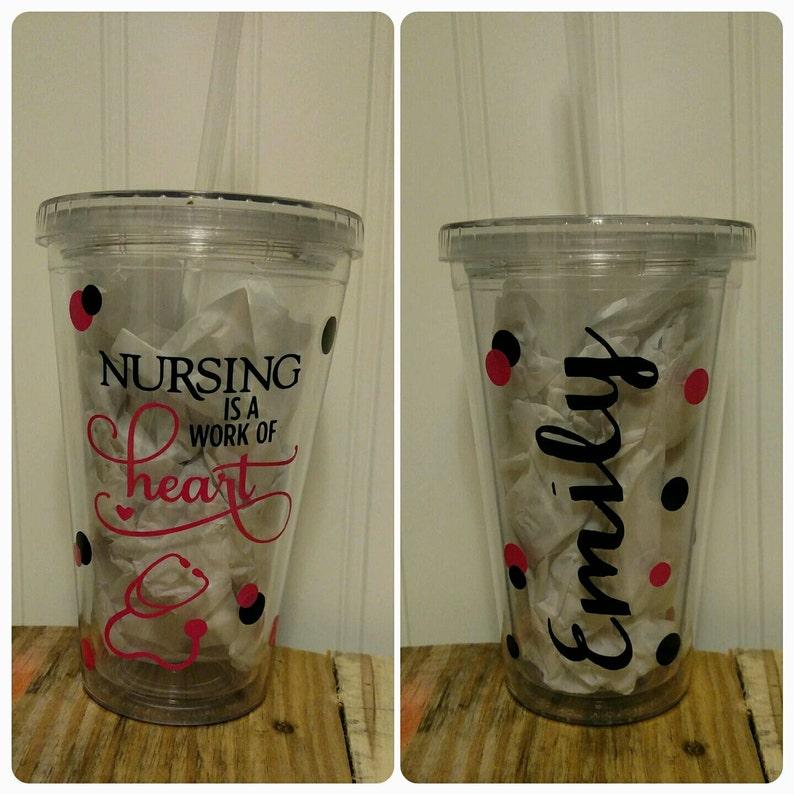 46db110b960 Nurse Nursing Themed Personalized Acrylic Tumbler Coffee Cup   Etsy