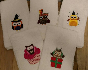 Owl Kitchen Decor Hand Dish Cloths Towels Bar Mops Set of Five Holidays *Personalized Option* Great Wedding Housewarming Christmas Gift