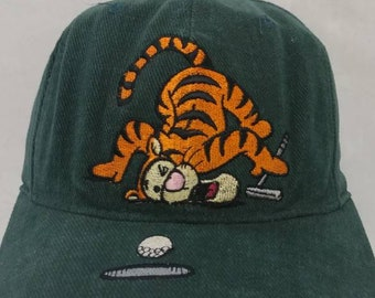 d2b1e3ac23110 Vtg 90s Tigger Disney Golf hat All over print strap back cap embroidered  rare