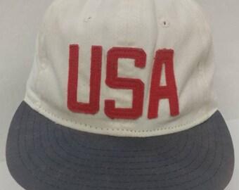 3ad84fb32b5a8 Vtg 90s USA hat leather strapback Ebbets Field x J Crew USA made Strap Cap