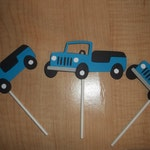 12 Pcs Turquoise Blue Jeep Cupcake Toppers Set  -  Made To Order
