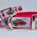 Christmas Vintage Red Truck Dog Collar,Holiday Dog Collar,Christmas Dog Collar,Matching Leash,Key Fob,Christmas Truck Collar