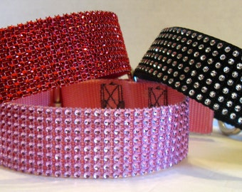 """Faux BLING COLLARS-Large Dog Collar 1.5"""" wide-Rhinestone Bling Dog Collar-Glitzy Pet Collar-Rhinestone Faux Diamond Collar -Fancy Pet Collar"""