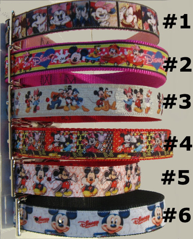 couleur attrayante Excellente qualité magasin d'usine Disney Characters, Disney Large Dog Collars, Mickey, Minnie, Pluto, Donald  Duck, Walt Disney Ribbon Dog Collars, Matching Leads, Key Fobs