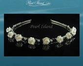 Wedding Tiara, Petite Ivory Freshwater Pearl in Bell Flower Wedding Tiara, Hair Accessories