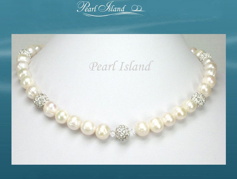 White Circlet Pearl & Crystal Necklace with Birthstones image 1