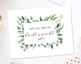 Will You Be My Bridesmaid Card Download - Bridesmaid Proposal - Bridal Party Card - Bridesmaid Card - Maid of Honor Card - Bridesmaid Gift