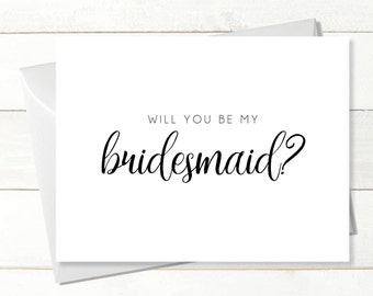 Printable Will You Be My Bridesmaid Card X4, Instant Download Greeting Card, Wedding Card, Be My Bridesmaid, Bridesmaid Proposal Download
