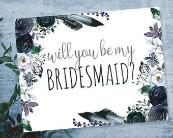 Will You Be My Bridesmaid Card Download, Bridesmaid Proposal, Bridal Card Printable, Bridesmaid Card, Maid of Honor Card, Bridesmaid Gift
