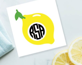 CUSTOM Lemon Monogram Decal, Summer Decal, Lemon Decal, Yeti Decal, Monogram sticker, Monogram decal, Vinyl monogram, Lemon decal sticker
