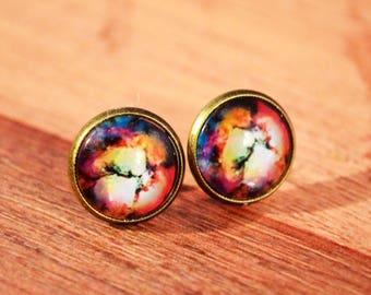 Nebula Stud Earrings, Nebula Jewelry, Nebula Earrings, Space Nebula Jewelry, Space Nebula Studs, Nebula Posts, Space Nebula Earrings