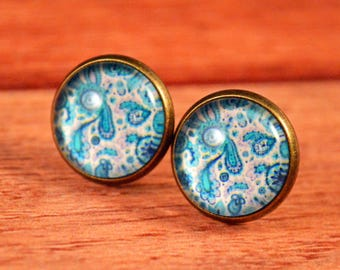 Designer Studs, Blue Paisley Earring, Paisley Studs, Blue Earrings, Blue Stud Earrings, Blue Jewelry, Paisley Earrings, Blue Paisley Studs