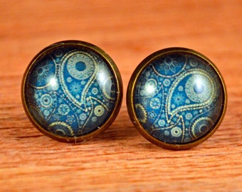 Designer Studs, Blue Paisley Earring, Paisley Studs, Retro Earrings, Retro Studs, Vintage Studs, Paisley Earrings, Blue Paisley Studs