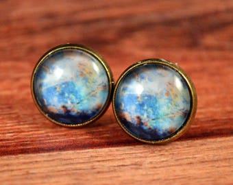 Galaxy Earrings, Galaxy Posts, Universe Earrings, Universe Posts, Universe Jewelry, Galaxy Jewelry, Nebula Studs, Nebula Earrings