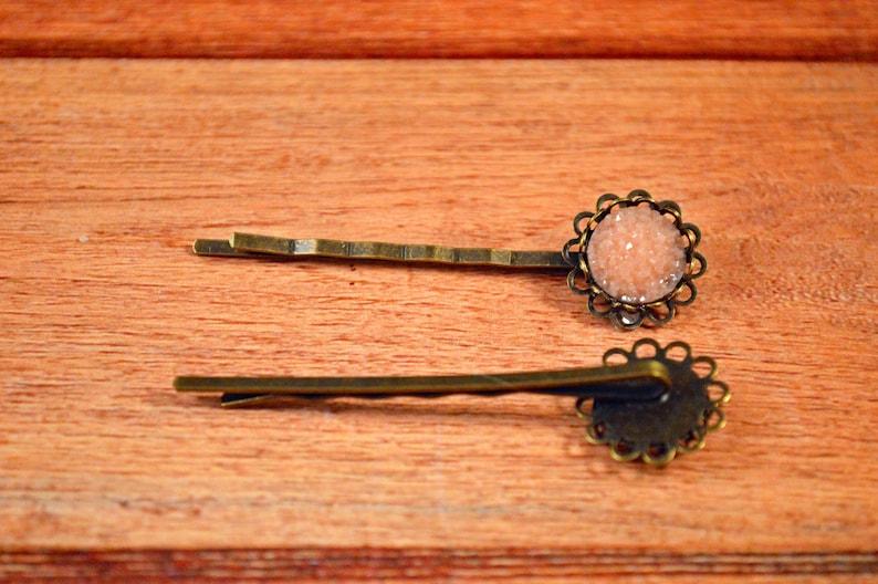Peach Crystal Pins Crystal Hair Pins Gift For Her Peach Glitter Pins Glitter Hair Pins Peach Hair Pins Peach Wedding Pins