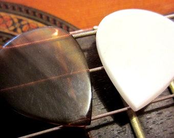 Set of 2 Horn & Bone Jazz Picks - 1mm Precision Jazz Shape - Beautiful Feel and Sound - Acoustic Guitar, Mandolin, Ukulele