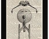 Star Trek Enterprise Klingon Bird of Prey Art Print on 1850 Antique Book Page - 5x7 Framed Art - SciFi Movie Film Art Gift for Boy Guy Girl