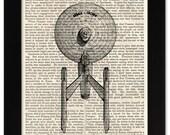 Star Trek Enterprise Art Print on 1850 Antique Book Page - 5x7 Framed Art - SciFi Cinema Movie Film Art Gift for Boy Guy Girl