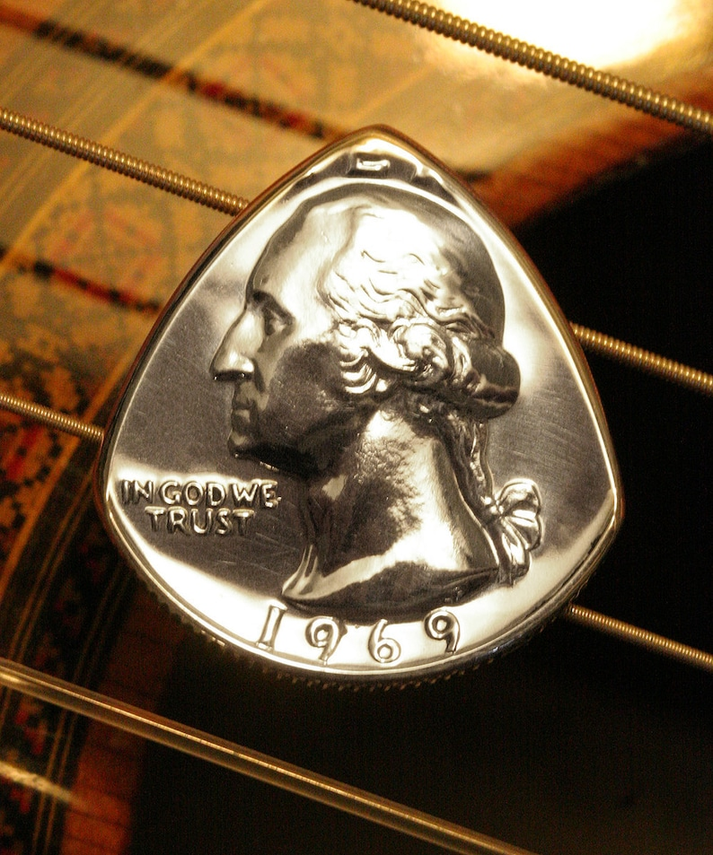 ANY YEAR Quarter Coin Guitar Pick  Birthday Anniversary image 0