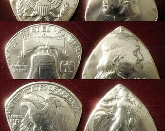 Set of 3 Silver Half-Dollar Coin Guitar Picks ... USA FREE SHIPPING ...