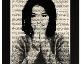 BJORK Debut Art Print on 1850 Antique Book Page - Civil War / Victorian Era - Rock & Roll meets Ancient History