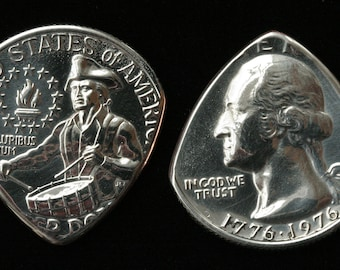 USA Bicentennial Coin Guitar & Mandolin Pick ... the 'George Pick' ... Free Worldwide Shipping