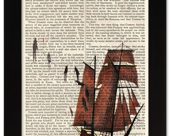 DECEMBERISTS Castaways and Cutouts Art Print on 1850 Antique Book Page - Civil War / Victorian Era - Rock & Roll meets Ancient History
