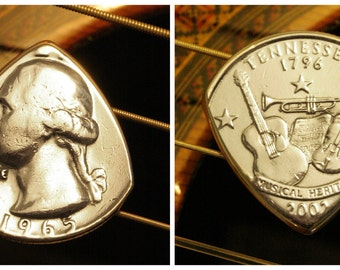 YEAR & STATE Gift Set of 2 USA Coin Guitar Picks ... The perfect personalized men's and women's gift for your guitarist this year!