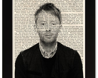 THOM YORKE Radiohead Art Print on 1850 Antique Book Page - Civil War / Victorian Era - Rock & Roll meets Ancient History