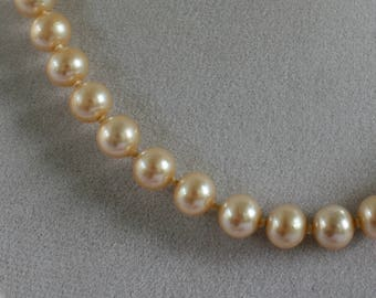 Pearl Necklace Glass Luster Vintage Faux Pearl Necklace Champagne Glass Pearl Necklace Clasp Pat. Pending
