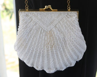 Vintage White Beaded Clamshell Evening Bag Gold Chain Strap
