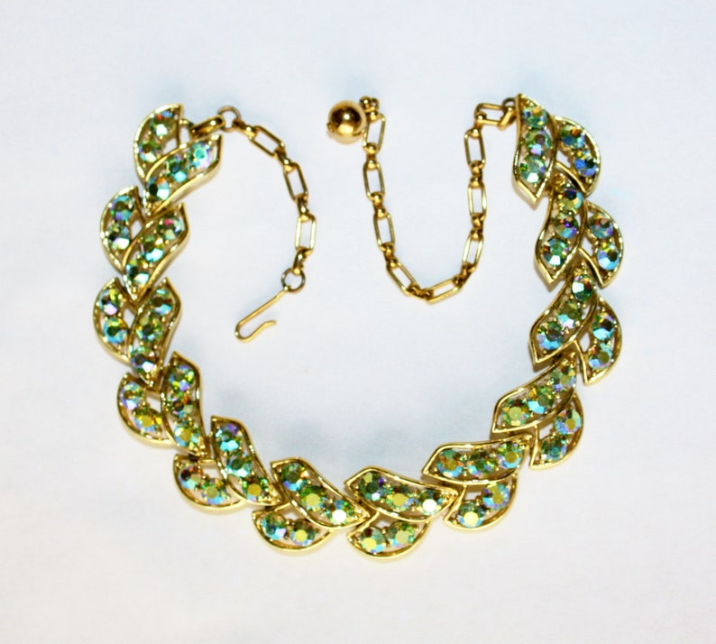Dazzling AB Rhinestone Necklace Designer Mac-Allen RARE  Necklace EDLEE Blue Green Christmas Wedding Prom Black Tie Event