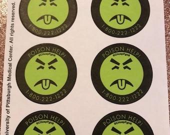 Mr. Yuk Stickers 1 sheet 10 stickers FREE shipping!