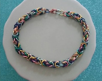 Copper Rainbow Enameled Copper Chainmaille Bracelet Bright Multicolored Free Shipping Handmade Unisex