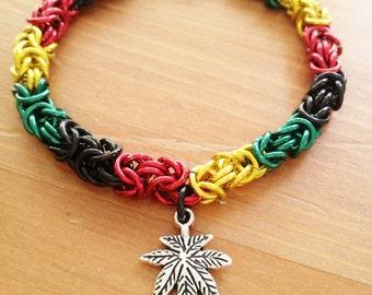 Marijuana Cannabis Chainmaille Bracelet,  One Love, Anodized Aluminum and Charm, MMJ 420