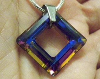 Amazing Swarovski Crystal Square Necklace