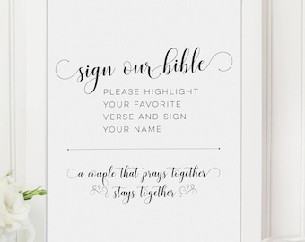 Wedding Guest Book Sign Our Bible Printable