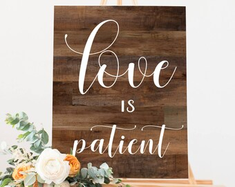 1 Corinthians 13 Wood Wedding Sign | Printable Wedding Signs | Rustic Wedding Decor | Love is Patient, Love is Kind, Love Never Fails