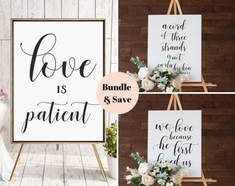 Wedding Welcome Signs Bundle •1 Corinthians 13 • Love is Patient, Love is Kind, Love Never Fails • Aisle Signs • 8x10, 16x20