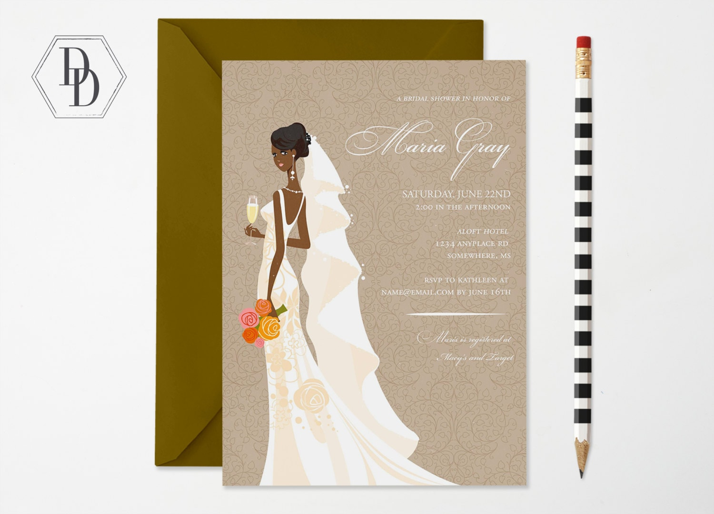 Elegant African American Bridal Shower Invitation African   Etsy