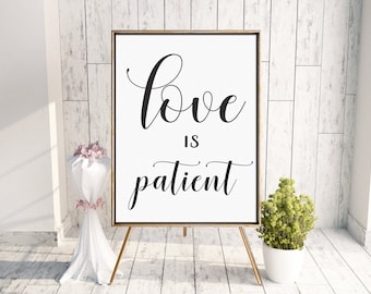 1 Corinthians 13 Wedding Aisle Sign | Printable Wedding Signs | Romantic Wedding Decor | Love is Patient, Love is Kind, Love Never Fails