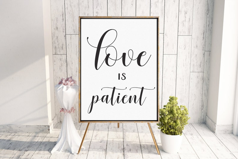 Wedding Signs Set of 8 • Scripture Poster • 1 Corinthians 13 • Love is  Patient, Love is Kind, Love Never Fails • Aisle Signs • 8x10, 16x20