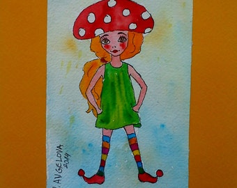 Children Card Birthday Girl Gift Art Handmade Card Watercolor Fairy Card Gift Hand Painted Card Unique Gift for Nurse Fairy Card OOAK