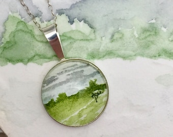 Gray Sky - Abstract Watercolor Necklace - Sterling Silver