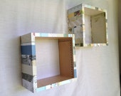 Adventures - Set of Two Decoupaged Wall Box Shelves - One Of A Kind