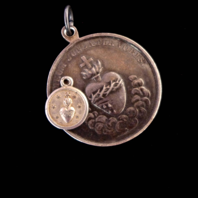 Tiny Sacred Heart Antique Sterling Cast Holy Medal Charm