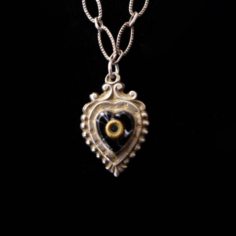Antique French Heart Charm Stanhope Necklace