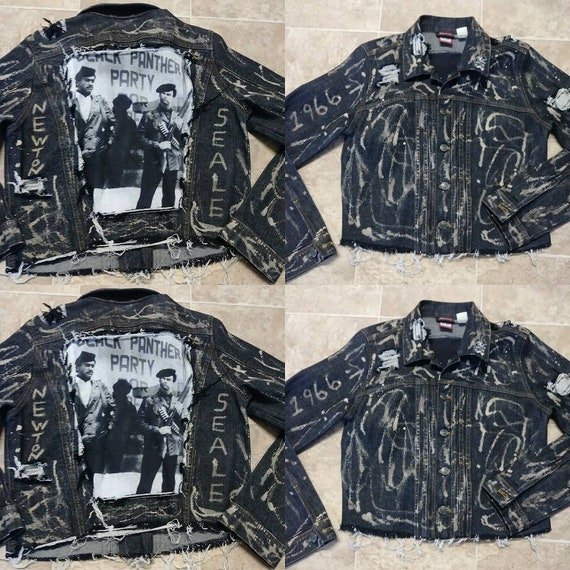 Black Panther Movementmarch Bleached Denim Jean Etsy
