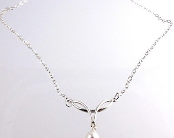 Sterling Silver Drop Necklace,  Fashion Jewelry, Wedding Jewelry, Career Wear, Gifts
